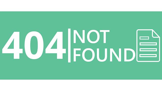 A 404 error warning